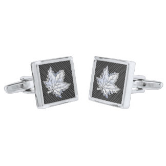 Chrome Like Maple Leaf on Carbon Fiber Print Silver Finish Cufflinks