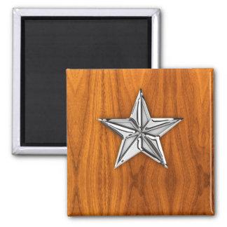 Chrome Like Nautical Star on Teak Veneer Square Magnet