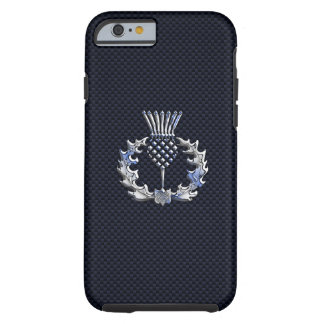 Chrome like on Carbon Fiber Print Scottish Thistle Tough iPhone 6 Case