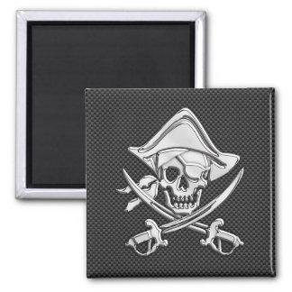 Chrome Like Pirate on Black Carbon Fiber Square Magnet