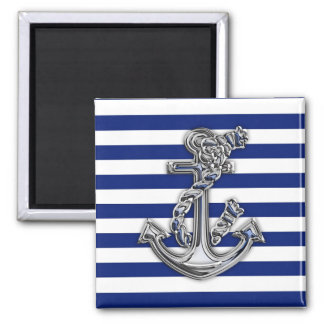 Chrome Like Rope Anchor on Nautical Stripes Square Magnet