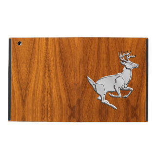 Chrome Like Running Deer on Fine Teak Print iPad Cover