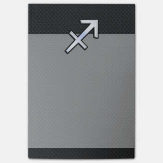 Chrome Like Sagittarius Zodiac Sign on Black Post-it Notes