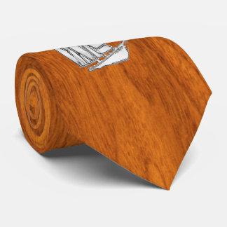 Chrome like Sailboat on Teak Veneer style print Tie