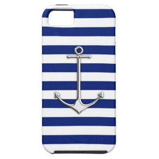 Chrome Like Thin Anchor on Nautical Stripes Decor iPhone 5 Cover