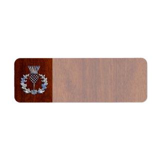 Chrome Like Thistle on Mahogany Wood Style Return Address Label