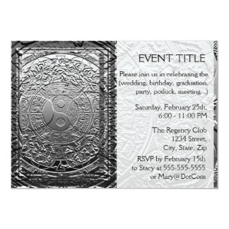 Chrome Look Tree of Life Yin Yang Personalized Invites