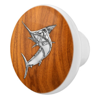 Chrome Marlin Fish on Teak Wood Grain Print Ceramic Knob