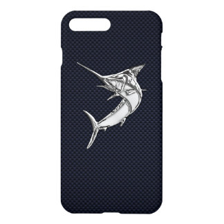 Chrome Marlin on Carbon Fiber iPhone 8 Plus/7 Plus Case