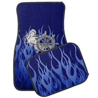 Chrome Mermaid on Blue Flames Print Car Mat