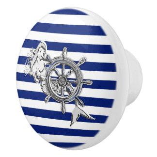 Chrome Mermaid on Nautical Navy Stripes Print Ceramic Knob