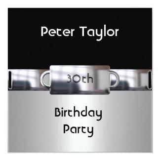 Chrome Metal Silver Mens 30th Birthday Man 13 Cm X 13 Cm Square Invitation Card