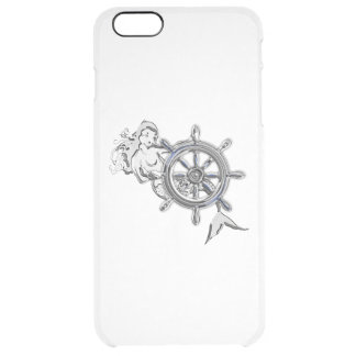 Chrome Nautical Mermaid Print Clear iPhone 6 Plus Case