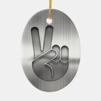 Chrome Peace Hand Ceramic Ornament