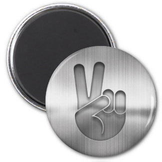 Chrome Peace Hand Magnet