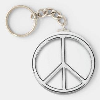chrome peace sign keychain