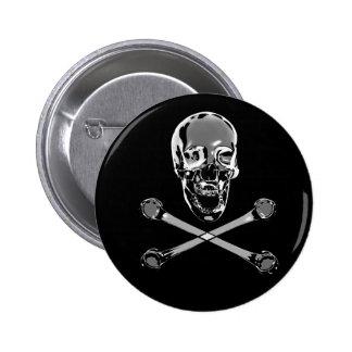 Chrome Pirate and Crossbones 6 Cm Round Badge