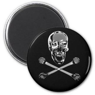 Chrome Pirate Skull and Crossbones Magnet