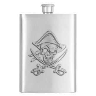 Chrome Pirate Skull Nautical Print Flasks