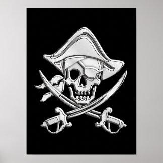 Chrome Pirate Skull Poster