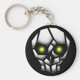 Chrome Plated Skull with Glowing Eyes Key Ring