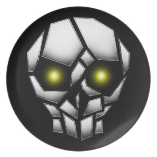 Chrome Plated Skull with Glowing Eyes Plate