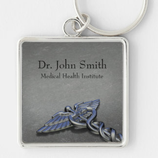 Chrome Professional Medical Caduceus - Keychain