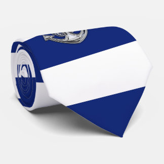 Chrome Rope Anchor on Nautical Navy Blue Stripes Tie