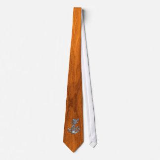 Chrome Rope Anchor on Teak Veneer Tie