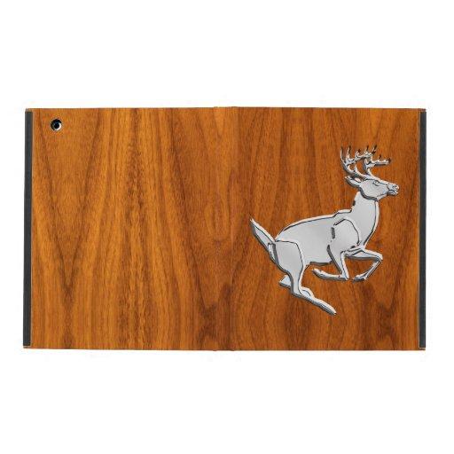 Chrome Running Deer on Fine Teak Print iPad Folio Cases