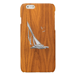 Chrome Sail Boat on Teak Wood Print