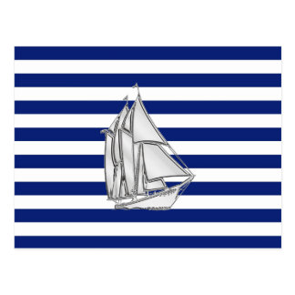 Chrome Sailboat on Nautical Stripes Postcard