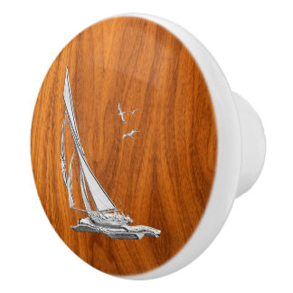 Chrome Sailing on Nautical Teak Wood Grain Print Ceramic Knob