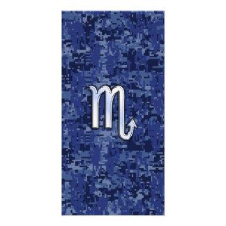Chrome Scorpio Zodiac Sign on Navy Blue Camo Photo Card Template