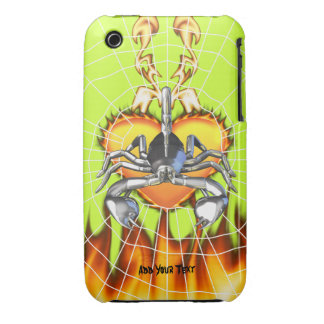 Chrome scorpion design 3 with fire and web iPhone 3 Case-Mate cases