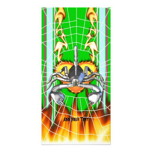 Chrome scorpion design 3 with fire and web photo greeting card