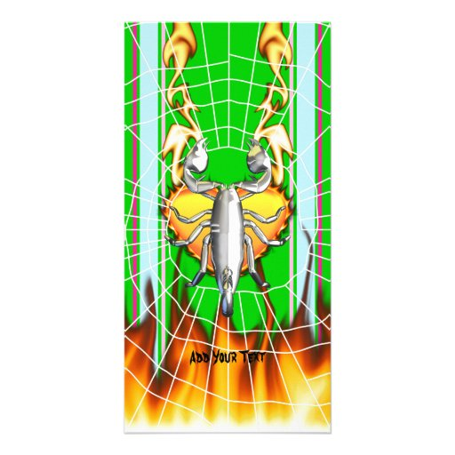Chrome scorpion design 4 with fire and web customized photo card