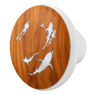 Chrome Sharks on Nautical Teak Wood Grain Print Ceramic Knob