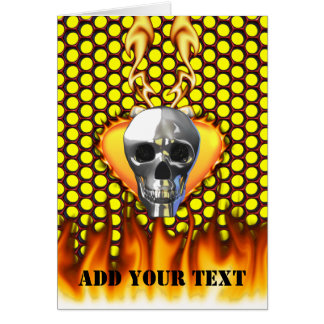 Chrome Skull and candy apple red honeycomb Greeting Card