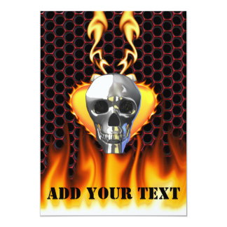 """Chrome Skull and candy apple red honeycomb 5"""" X 7"""" Invitation Card"""