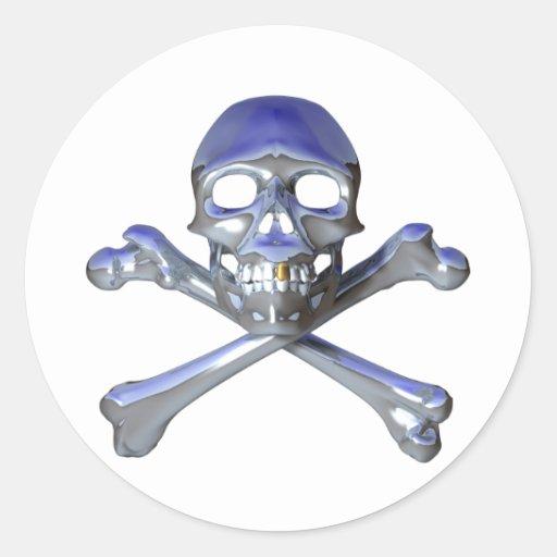 Chrome skull and crossbones sticker
