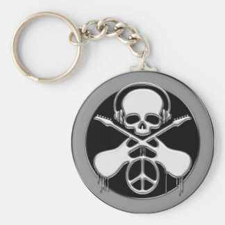 CHROME SKULL, GUITAR AND PEACE SIGN BASIC ROUND BUTTON KEY RING