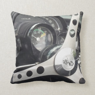 Chrome Steering wheel and black gages corvette Throw Cushions