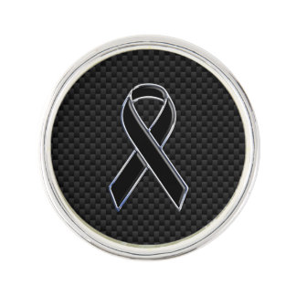 Chrome Style Black Ribbon Awareness Carbon Fibre Lapel Pin