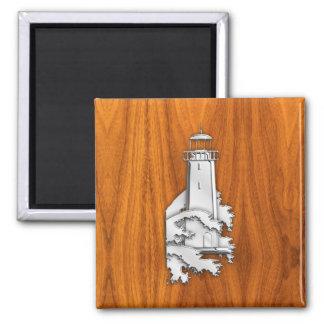Chrome Style Lighthouse on Teak Wood Decor Square Magnet
