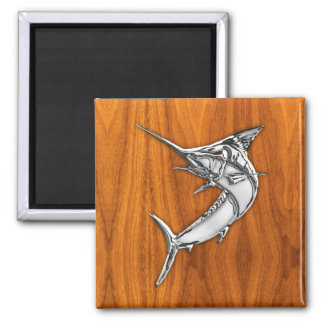 Chrome Style Marlin on Teak Wood Decor Square Magnet