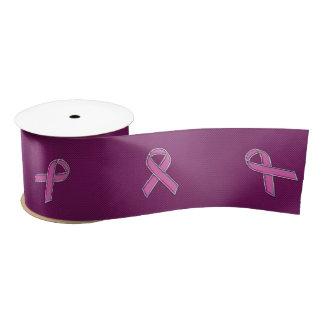Chrome Style Pink Ribbon Awareness Carbon Fiber Satin Ribbon
