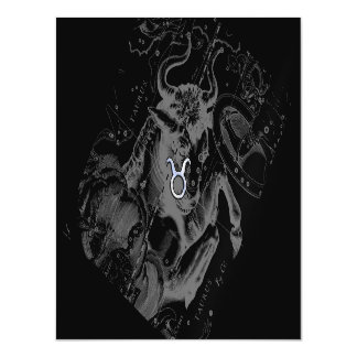 Chrome Style Taurus Zodiac Sign on Hevelius Black Magnetic Invitations