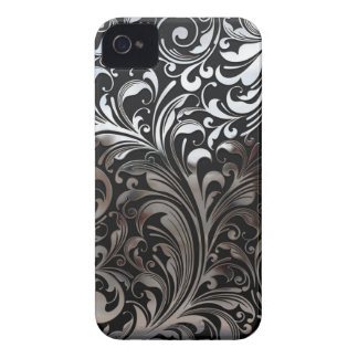 Chrome Vines on Black iPhone 4 Case