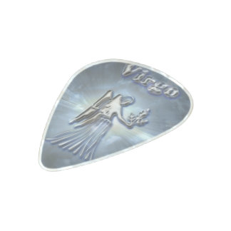 Chrome Virgo Pearl Celluloid Guitar Pick